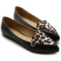 Ollio Women's Ballet Bow Comfort Multi Colored Colored Leopard Point Shoe Flat