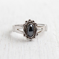 Vintage Sterling Silver Hematite Ring - Size Post Size 8 1/2 Split Band Jewelry / Faceted Gray Stone