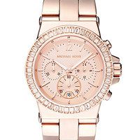 Michael Kors Watch, Women's Chronograph Dylan Rose Gold-Tone Stainless Steel Bracelet 43mm MK5412