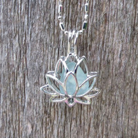 Sea Glass Lotus Flower Locket Aqua by Wave of LIfe