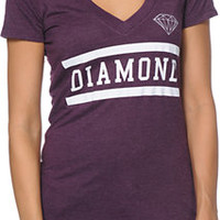 Diamond Supply Co Girls Collegiate Plum V-Neck Tee Shirt