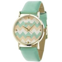 Women's Geneva Chevron Style Leather Watch - Mint Multi