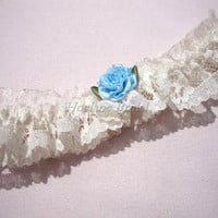 Garter, Ivory floral lace with blue ribbon flower garter, toss garter, Wedding/Prom garter