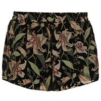 Black Devore Floral Shorts