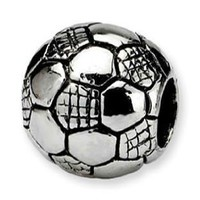 Antique Silver Soccerball Charm Spacer Bead Compatible with Pandora, Troll, Chamilia, Biagi and Other Italian Jewelry