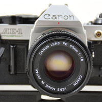 WORKING Canon AE-1 Program Slr 35mm Film Camera, Auto Wind, 50mm fd 1.8 Lens, Strap, Protective UV Filter, Cap