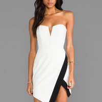 Mason by Michelle Mason Strapless Wrap Dress in Ivory