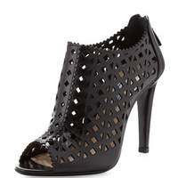 Prada Cutout Leather Bootie, Black