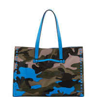 Valentino Rockstud Camo Canvas-Leather Soft Medium Tote Bag, Multi