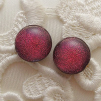 Red Earrings - Post Earrings - Dichroic Fused Glass Earrings - Stud Earrings - Bead Earrings - Christmas Earrings X1803