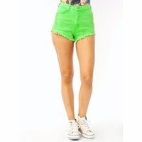 Neon High-Waisted Cut-Off Shorts - GoJane.com