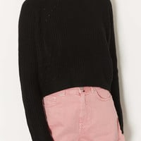 Knitted Rib Curve Crop Jumper