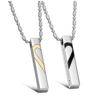 "JBG Fashion Titanium Stainless Steel Love Heart Jigsaw Pendant Necklace Engraved ""Love is Believe"" For Couples"