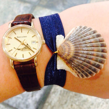 Scallop Shell Bracelet - Navy