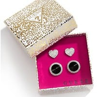 Black and Silver-Tone Stud Earrings Set | GUESS.com