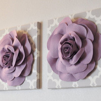 TWO Large Flower Wall Hangings -Lilac Dahlias on Neutral Gray Tarika Canvases-