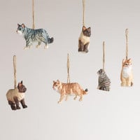 Wooden Cat Ornaments, Set of 6