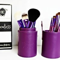 Purple Makeup Brushes Set - 12 Pce - Flawless - Fashionable Brush Cup Holder Perfect for Travel. An Essential Collection of Best Synthetic and Natural Fiber Brushes - Foundation, Concealer, Powder, Fan, Eyeshadow and Lip Brushes Each Designed to Deliver a