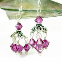 Fuchsia Swarovski Faceted Bicone Crystals Sterling Chandelier Earrings