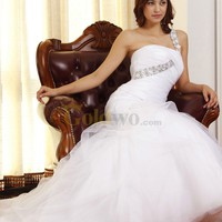 [US$355.57] Beaded One Shoulder Mermaid Wedding Dress with Pleated Drop Waist Bodice