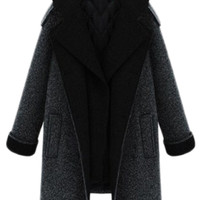 ROMWE | ROMWE Detachable Fake Two-piece Double-breasted Grey Coat, The Latest Street Fashion