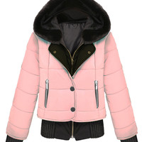 ROMWE | ROMWE PanelFaux Fur Hooded Single-breasted Pink Down Coat, The Latest Street Fashion