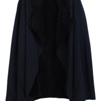 ROMWE | ROMWE Lapels Asymmetric Black Coat, The Latest Street Fashion