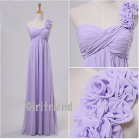 Simple Light Purple One-shouder Handmade Long Prom Dress / Bridesmaid dress