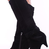 BLACK FAUX SUEDE PLEATED BOW KNEE LENGTH BOOTS