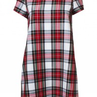 LOVE White Tartan Shift Dress