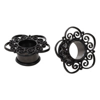 Steel Medieval Filigree Eyelet Plug 2 Pack