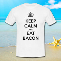 Keep Calm and Eat Bacon Funny - tshirt S,M,L,XL