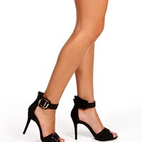 Promo- Black XL Buckle Heels