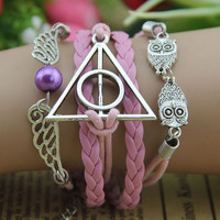pretty owl bracelet charms jewelry, pink wing owl deathly hollow sliver bracelets woven charm cute gift