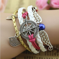 knitting jewelry charms bracelet, cute colorful bracelets pearl flying wing bird rudder charm bracelets diy gift