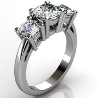 Platinum three stone engagement ring, bridal ring, wedding ring ER-1069-1