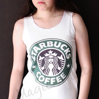 Starbucks logo style - Premium cotton Crop tank, Tank Top, T-shirt, Long sleeve