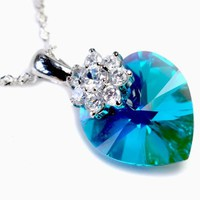 Love Heart 18 mm Royal Blue Swarovski Elements Crystal Necklace, 925 Sterling Silver Lace chain Necklace, and Diamond Style Rhinestone Crystal Bail -