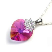 Love Heart 18 mm Royal Pink Swarovski Elements Crystal Necklace, 925 Sterling Silver Lace chain Necklace, and Diamond Style Rhinestone Crystal Bail -