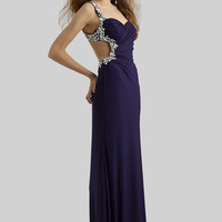 Clarisse 2014 Eggplant Magenta Black Mint One Shoulder Stretch Jersey Open Back Long Prom Dress 2364 | Promgirl.net
