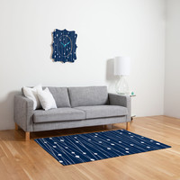 Heather Dutton Navy Entangled Woven Rug