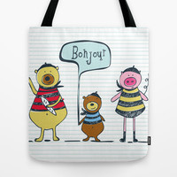 Bonjour Ami Tote Bag by Heather Dutton