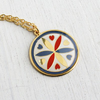 Vintage Hex Sign Necklace - 1970s Deadstock Gold Tone Folk Enamel Jewelry / Love & Romance