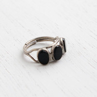 Vintage Sterling Silver Onyx Black Stone Ring - Retro Signed Beau Adjustable Egyptian Revival Jewelry / Triple Black Cabochon