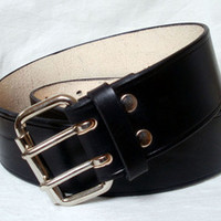 "Lakeside Leather — Wide leather belt, black, 2"", men, strong steel roller buckle"