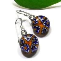 Orange Millefiori Fused Glass Dangle Earrings, Star Shaped Flowers