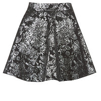 147 Fashion Silver Metallic Floral Skater Skirt
