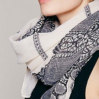 Raw Edge Motif Scarf