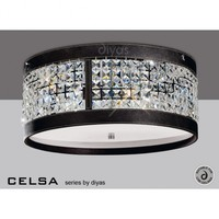 Diyas Celsa 4 Light Crystal Ceiling Fitting with Brown Faux Leather Detail - Diyas from Castlegate Lights UK