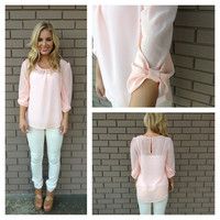Pink Bow on Sleeve Blouse